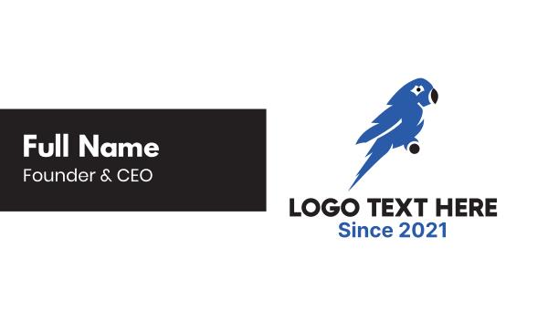 macaw - Blue Macaw  Business card horizontal design