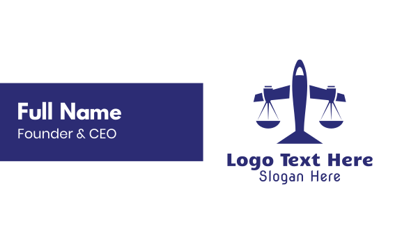 plane - Blue Legal Plane Scales Business card horizontal design