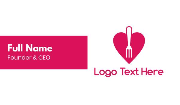 critic - Pink Heart Fork Business card horizontal design