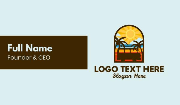 clouds - Summer Van Badge Business card horizontal design