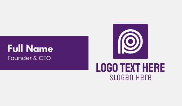 white circle - Purple Round Letter P Business card horizontal design