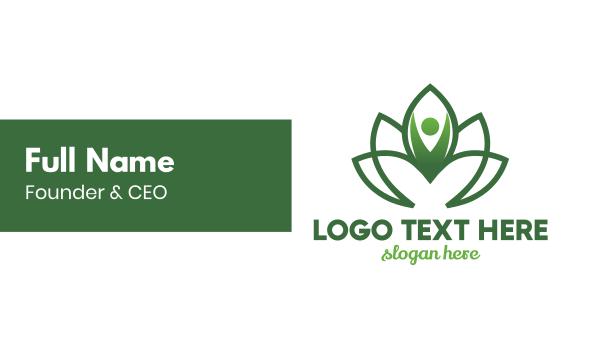 green flower - Green Flower Person Business card horizontal design
