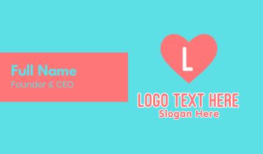 Pink Heart Feminine Letter Business Card