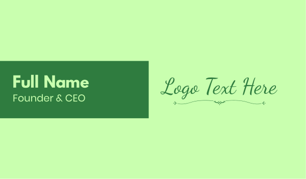 script - Green Natural Wordmark Business card horizontal design