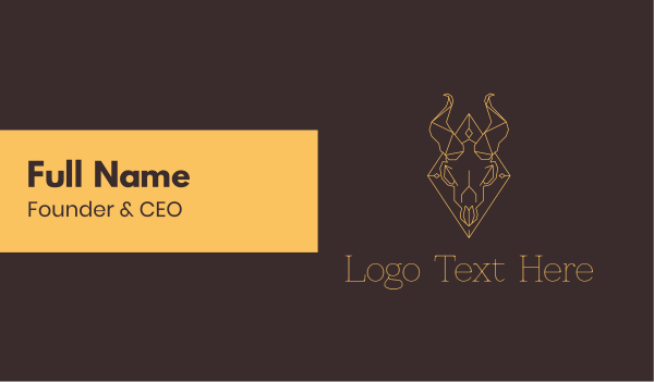 hell - Geometric Ram Skull Business card horizontal design
