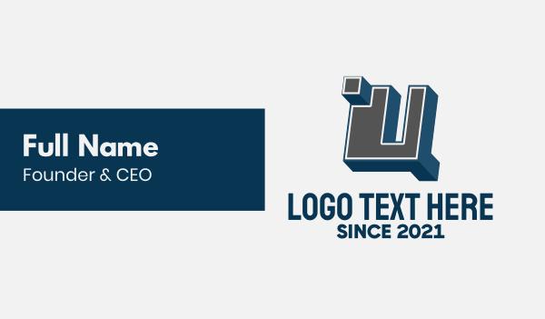 letter u - 3D Graffiti Letter U Business card horizontal design