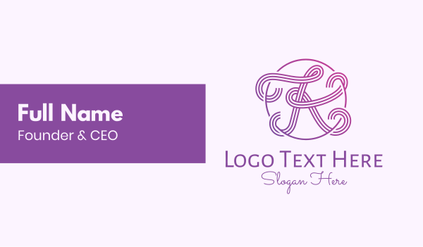 script - Fancy Purple Gradient Letter K Business card horizontal design