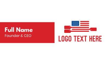 American Flag Paddle Business Card