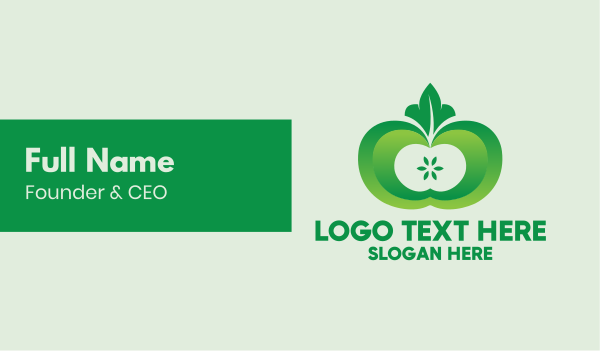 eating - Shiny Green Fruit Business card horizontal design