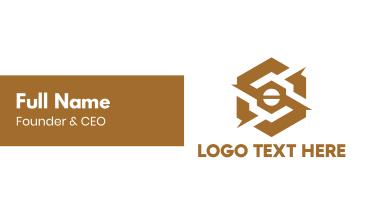 Gold Mechanical Hexagon Business Card