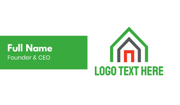 airbnb - Green Triangle House Business card horizontal design