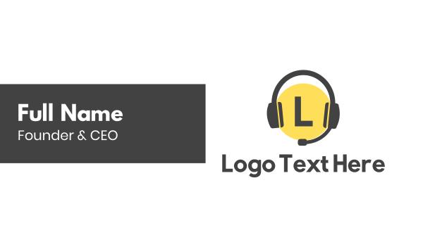 interaction - Headphones Lettermark Business card horizontal design