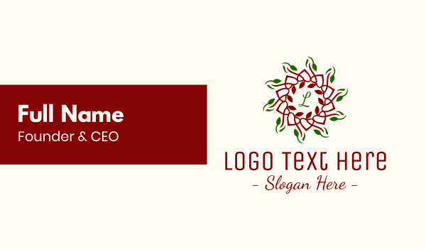 ornamental - Natural Christmas Lettermark Business card horizontal design