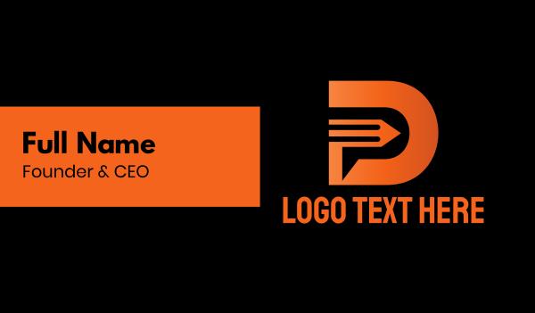 tutor - Pencil Letter D Business card horizontal design