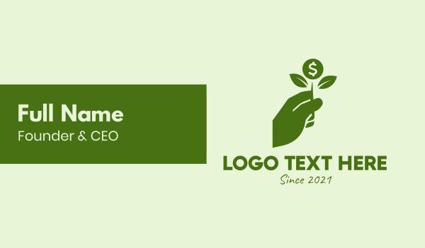 dollar - Green Money Savings Grow  Business card horizontal design