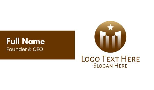 industries - Luxurious City Building Star Circle Business card horizontal design