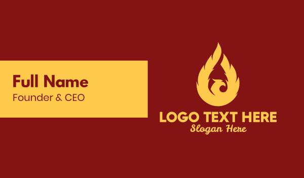 ablaze - Flaming Phenix Bird  Business card horizontal design