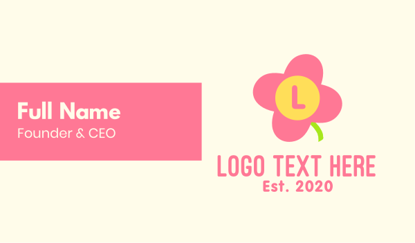 childrens fashion - Pink Cute Flower Daycare Lettermark Business card horizontal design