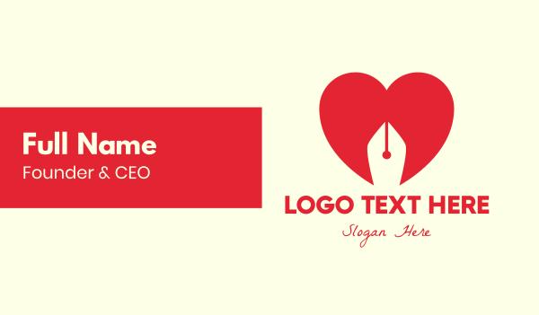 love letter - Red Heart Pen Business card horizontal design