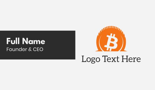 money - Orange Bitcoin Savings Business card horizontal design