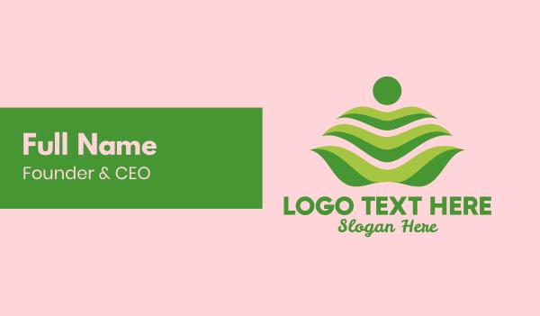yoga studio - Green Leaf Spa Massage Business card horizontal design