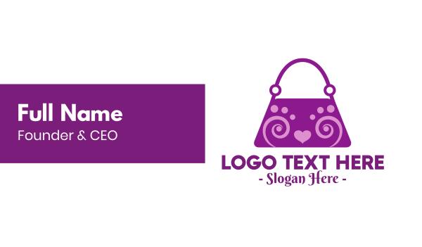 purple heart - Fancy Purple Bag Business card horizontal design