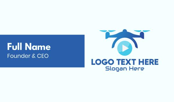 drone pilot - Blue Drone Video Business card horizontal design