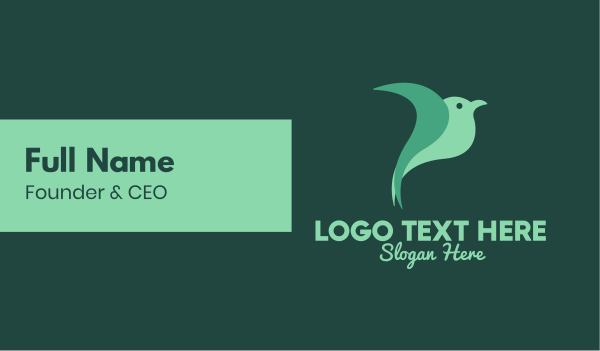 dove - Green Bird Business card horizontal design