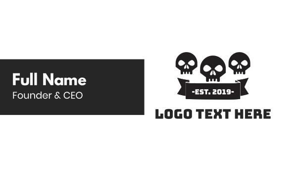 tattoo studio - Skull Gang Business card horizontal design