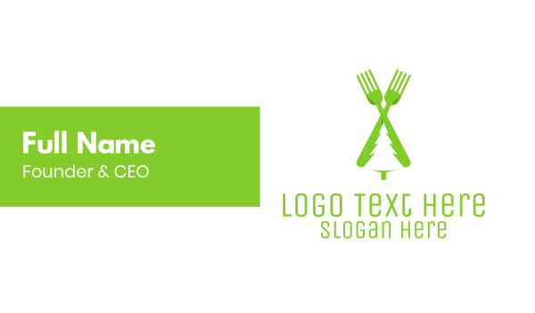 hungry - Green Pine Tree Fork Business card horizontal design
