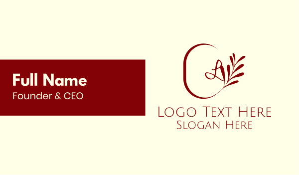 maroon - Elegant Leaves Lettermark Business card horizontal design