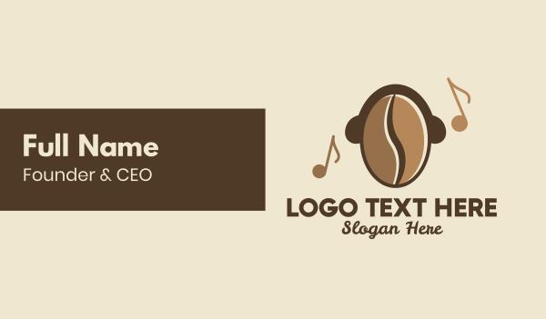 music lounge - Coffee Bean Cafe Music Business card horizontal design