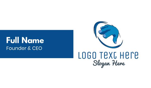 hacking - Blue Hand Business card horizontal design