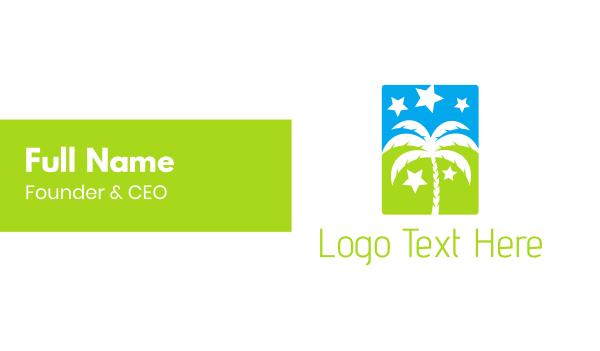 coconut tree - Palm & Stars Business card horizontal design