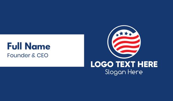 north america - Stars & Stripes Badge  Business card horizontal design