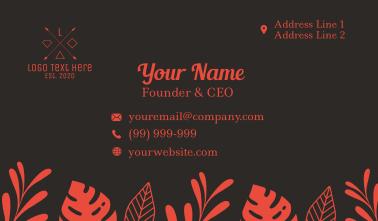 Summer Tropical Foliage Business Card