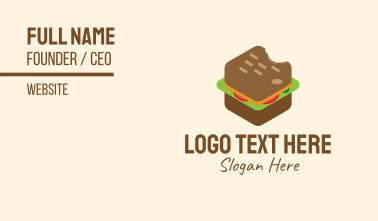 Isometric Food Sandwich  Business Card