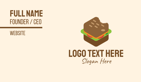 snack bar - Isometric Food Sandwich  Business card horizontal design
