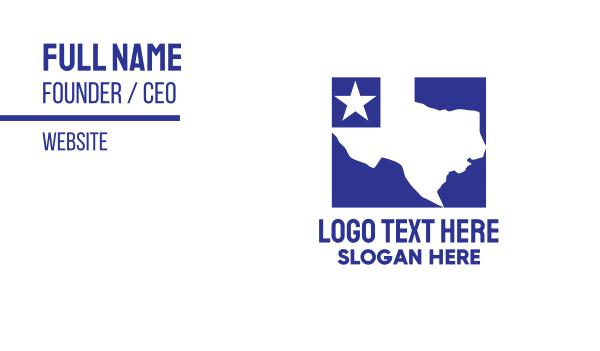 state - Blue Texas Map Business card horizontal design