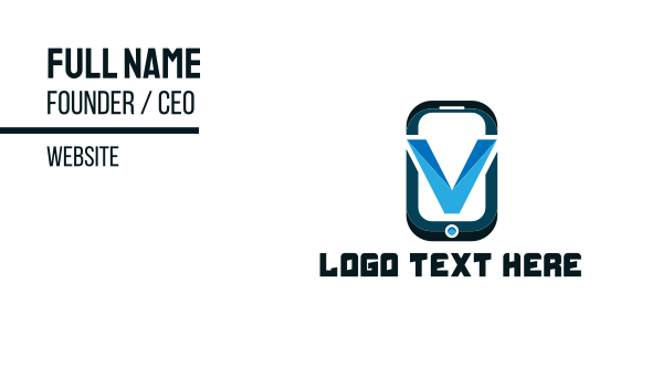 app developer - Phone Letter V Business card horizontal design