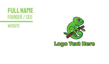 Green Climbing Chameleon Business Card