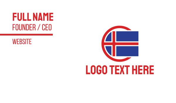 europe - Circle Iceland Flag Business card horizontal design