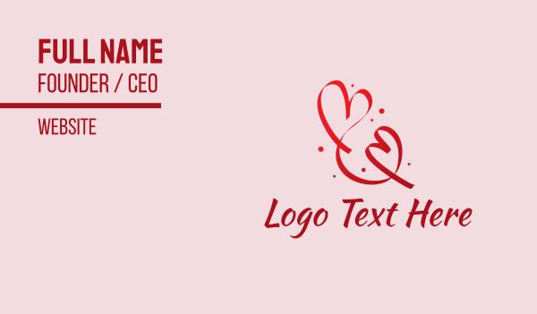 girlfriend - Red Romantic Heart Ribbon  Business card horizontal design