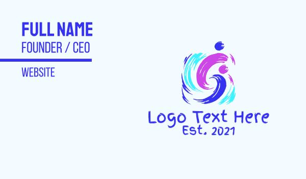 vibrant - Colorful Artsy Brushstroke Business card horizontal design