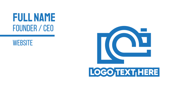 blue camera - Tech Camera Outline Business card horizontal design