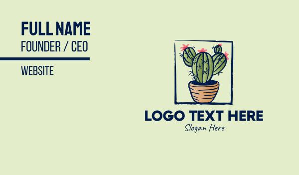 pot plant - Cactus Pot Plant Business card horizontal design