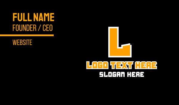 orange and white - Orange Game Text Business card horizontal design