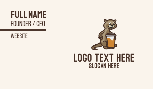 pussy - Cat Coffee Cup Business card horizontal design
