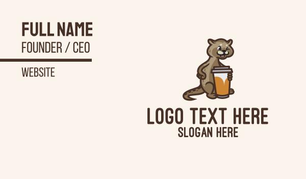 animal mascot - Cat Coffee Cup Business card horizontal design