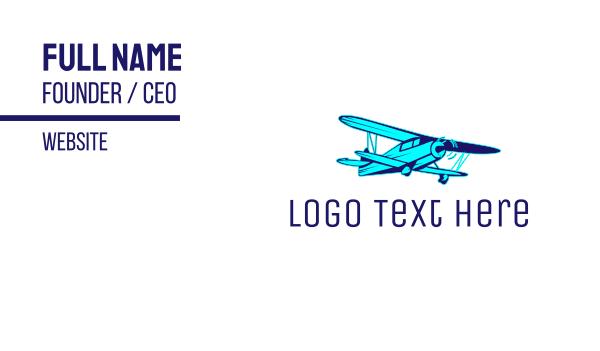 airforce - Blue Vintage Airplane Business card horizontal design